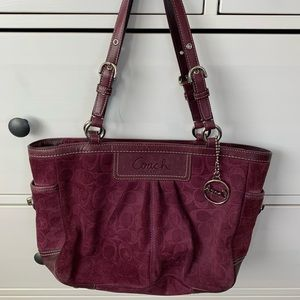 Coach Eggplant (purple) Suede Satchel Purse